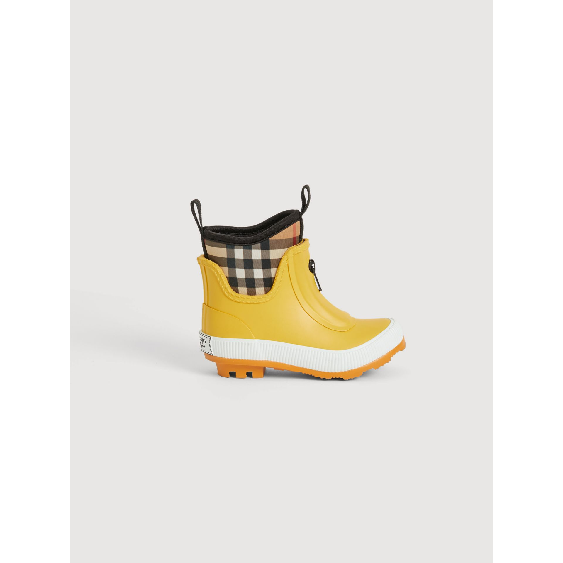 Vintage Check Neoprene and Rubber Rain Boots in Vibrant Lemon | Burberry - gallery image 3