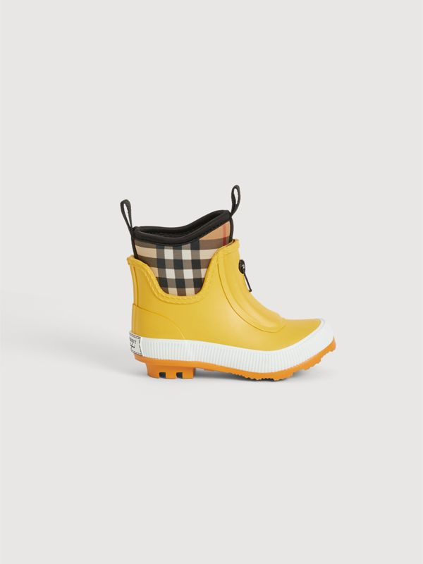 Vintage Check Neoprene and Rubber Rain Boots in Vibrant Lemon | Burberry United States - cell image 3