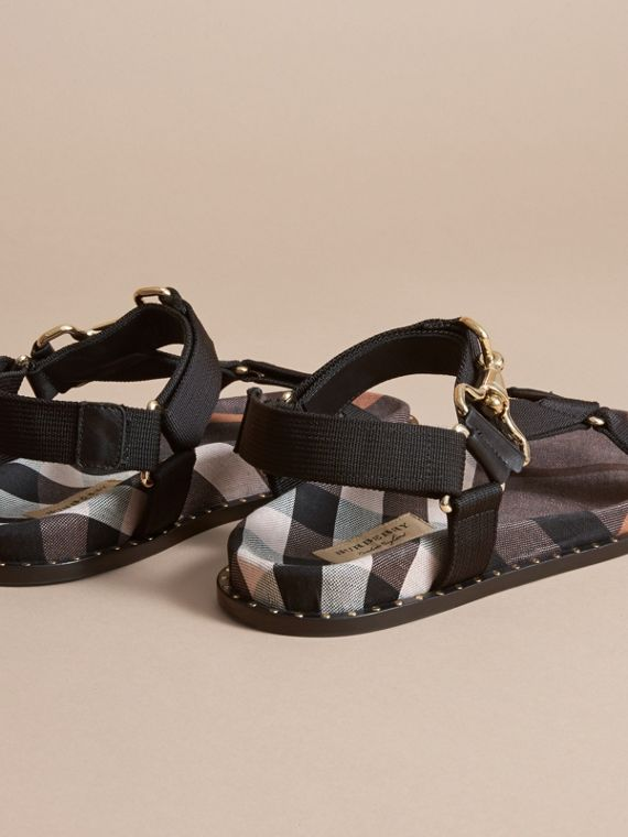 Hardware Detail Check Three-point Strap Ripstop Sandals in Antique Rose - Women | Burberry - cell image 3