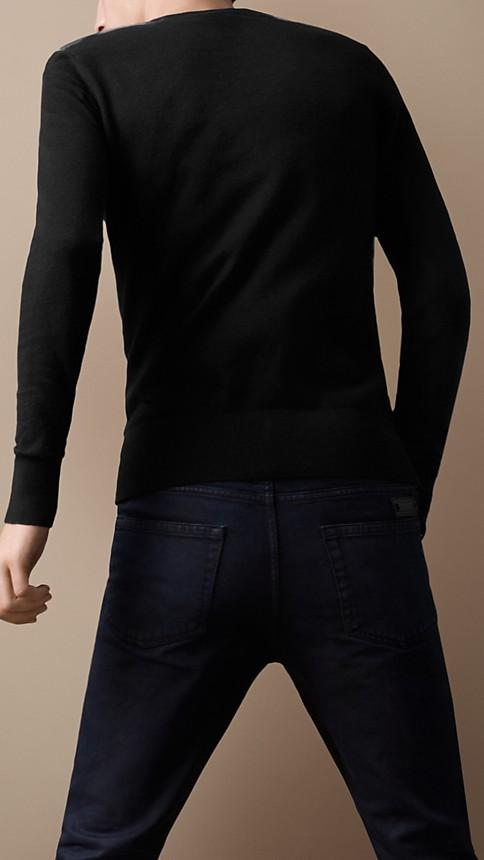 Black Check Detail Cotton Cashmere Sweater - Image 2