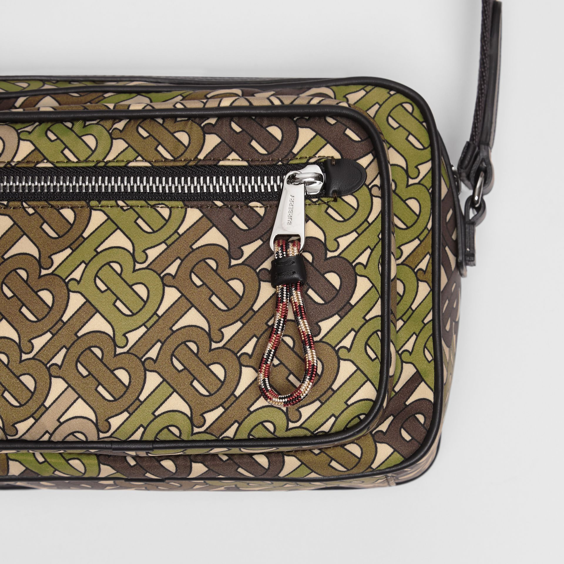 Monogram Print and Leather Crossbody Bag in Khaki Green - Men | Burberry Canada - gallery image 1