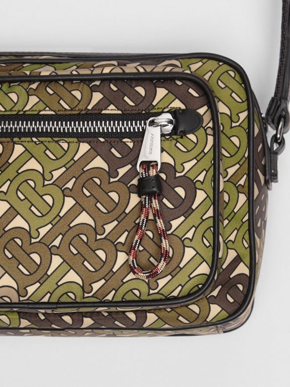 Monogram Print and Leather Crossbody Bag in Khaki Green - Men | Burberry - cell image 1