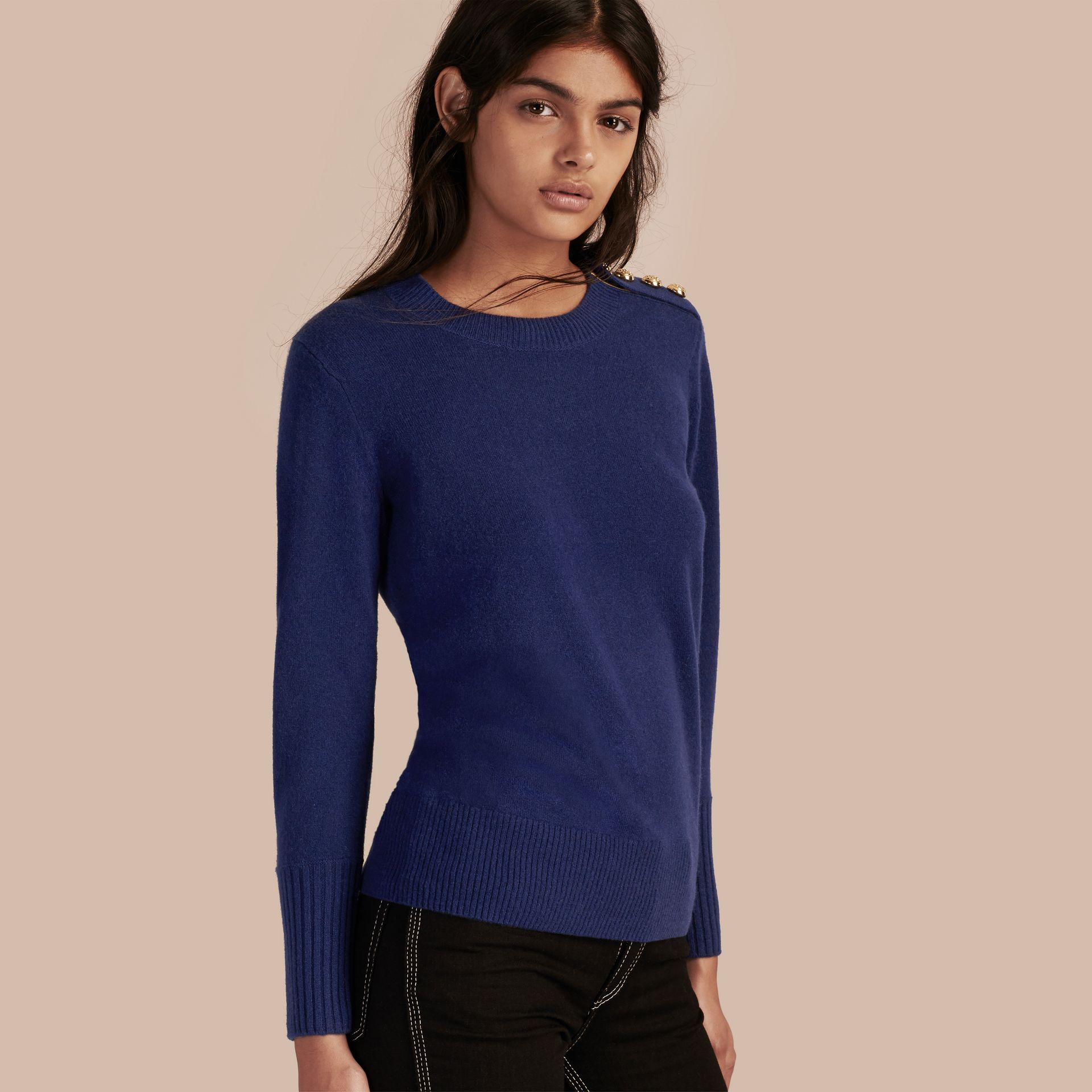 Cashmere Sweater with Crested Buttons in Bright Navy - gallery image 1