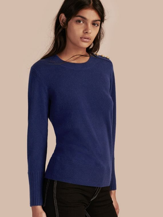 Cashmere Sweater with Crested Buttons Bright Navy