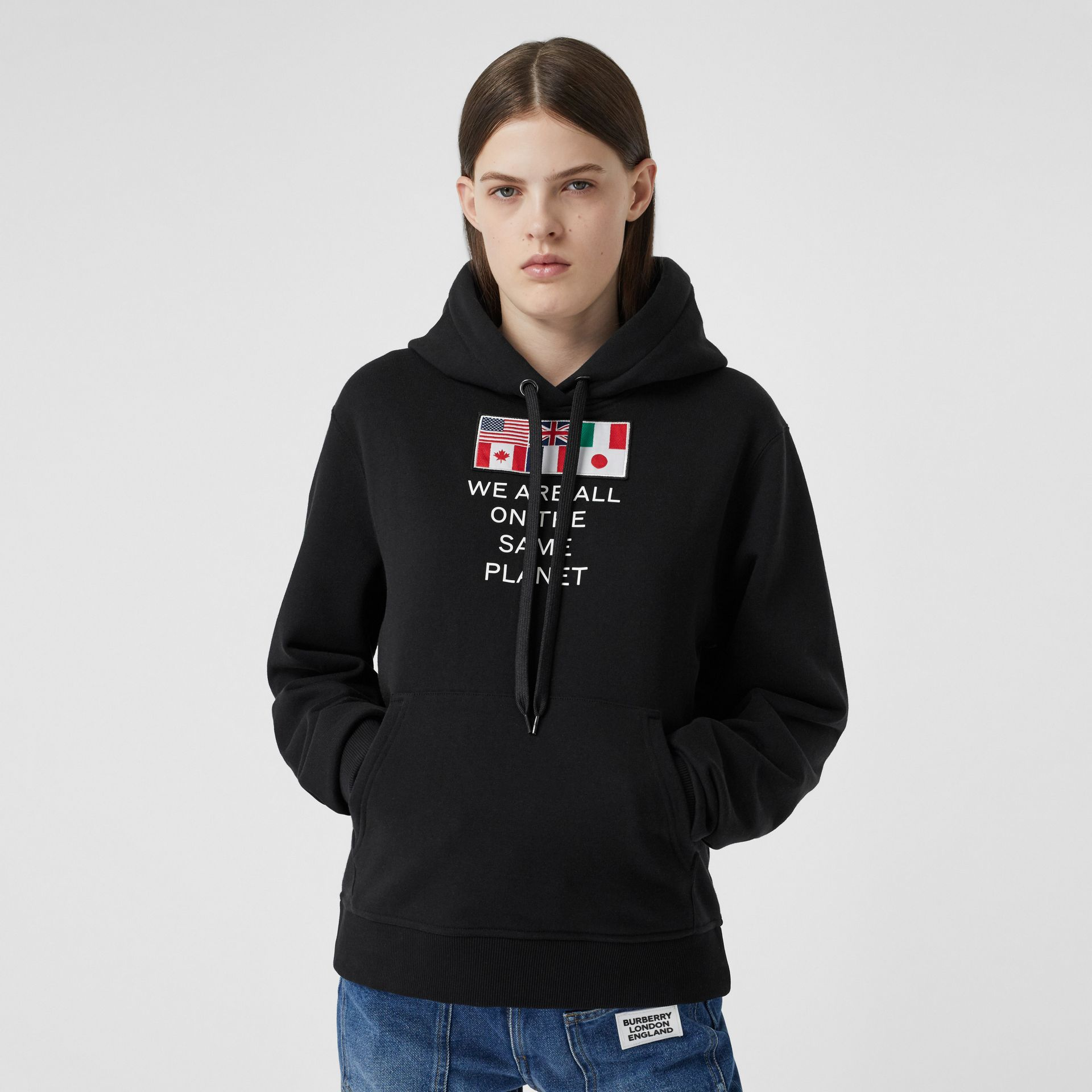 Flag Appliqué and Print Cotton Oversized Hoodie in Black - Women | Burberry Singapore - gallery image 0