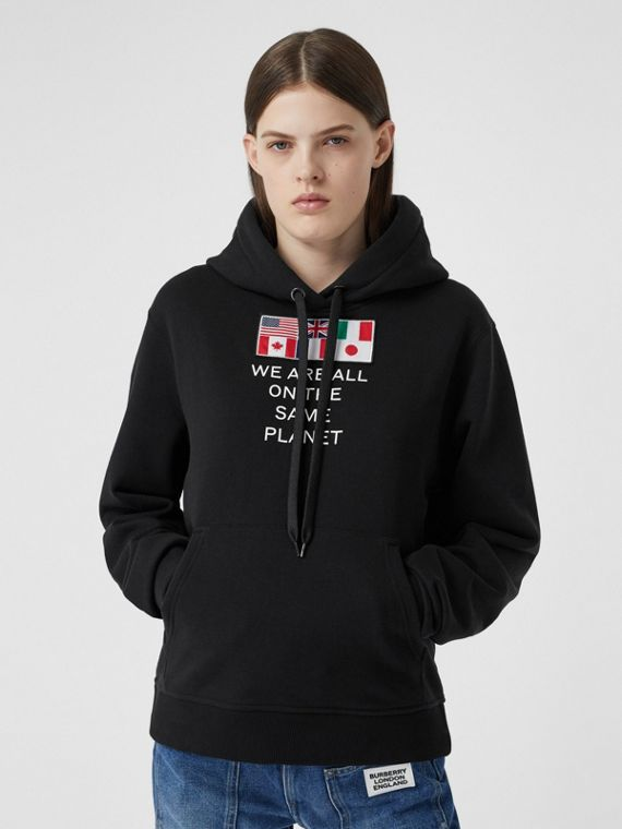 Flag Appliqué and Print Cotton Oversized Hoodie in Black