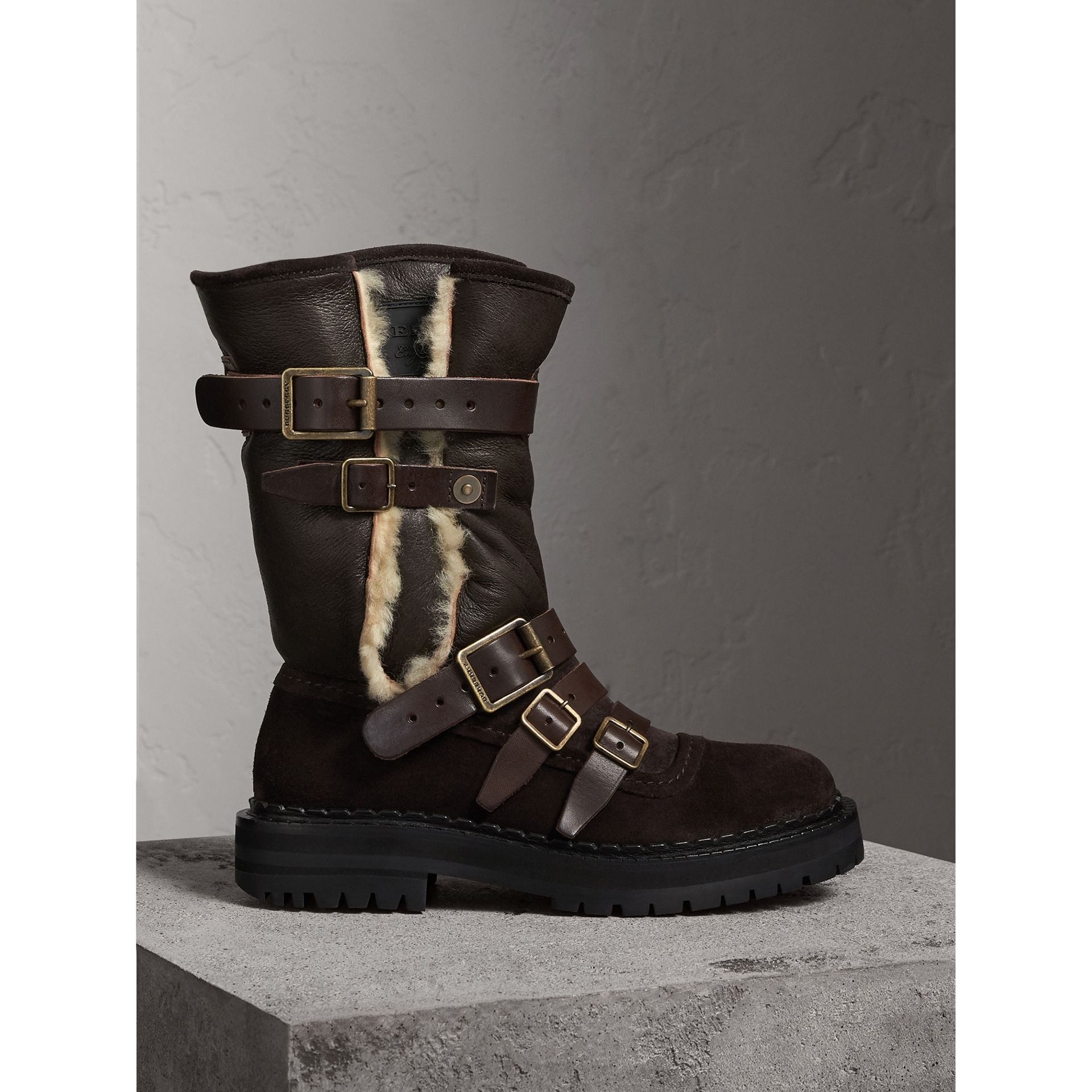 Buckle Detail Shearling and Suede Boots in Charcoal Brown - Women | Burberry - gallery image 1