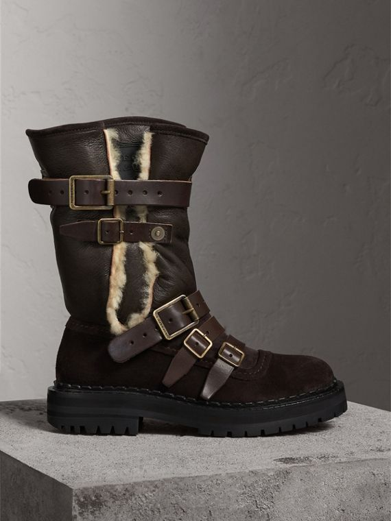 Buckle Detail Shearling and Suede Boots in Charcoal Brown