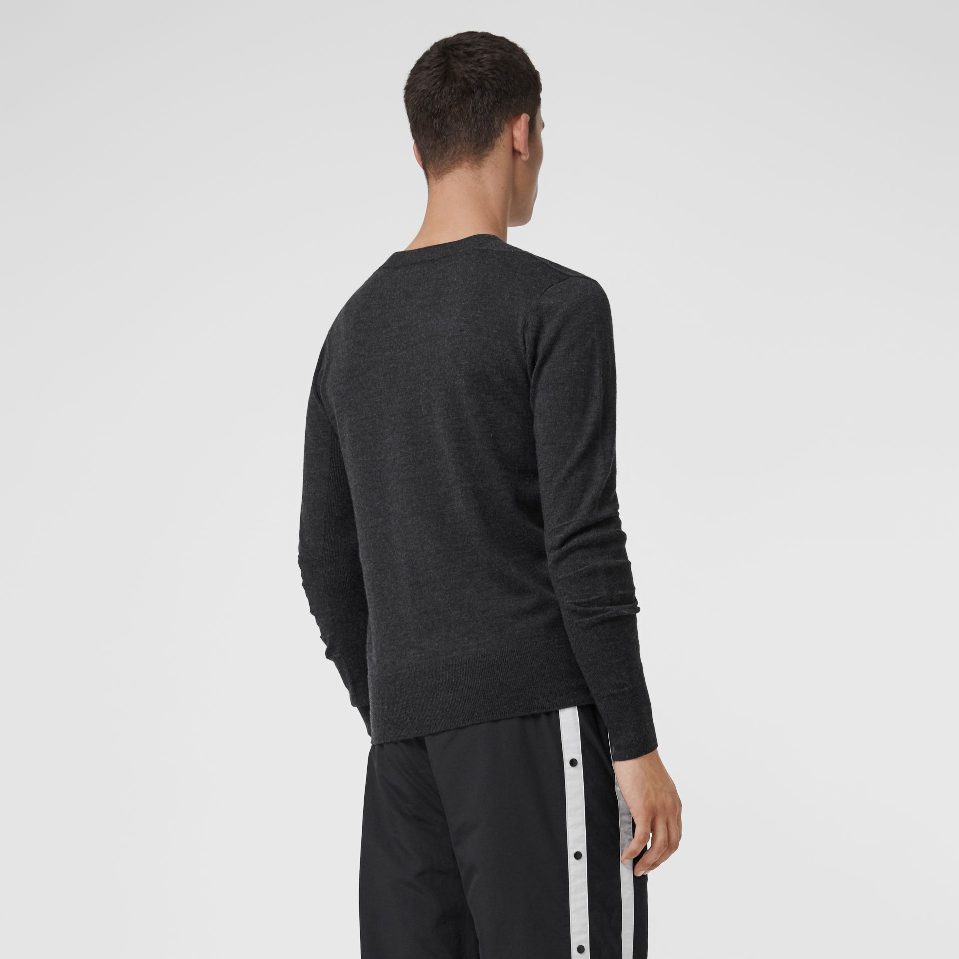 Check Detail Merino Wool Sweater in Charcoal - Men | Burberry Canada - gallery image 2