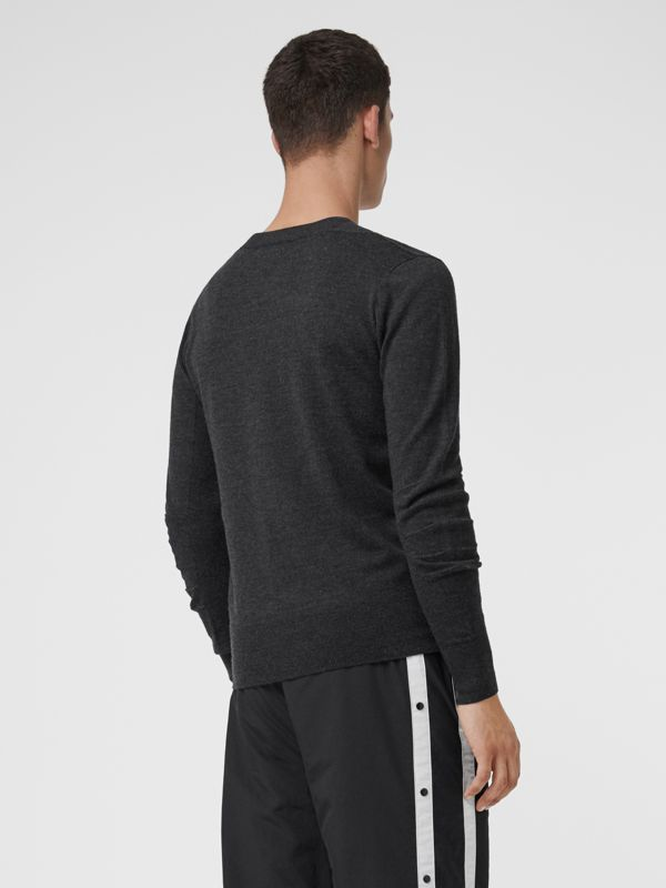 Check Detail Merino Wool Sweater in Charcoal - Men | Burberry Singapore - cell image 2