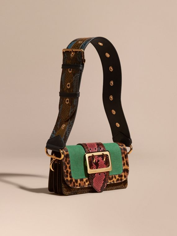 Sac The Patchwork en cuir velours texturé et peau de serpent