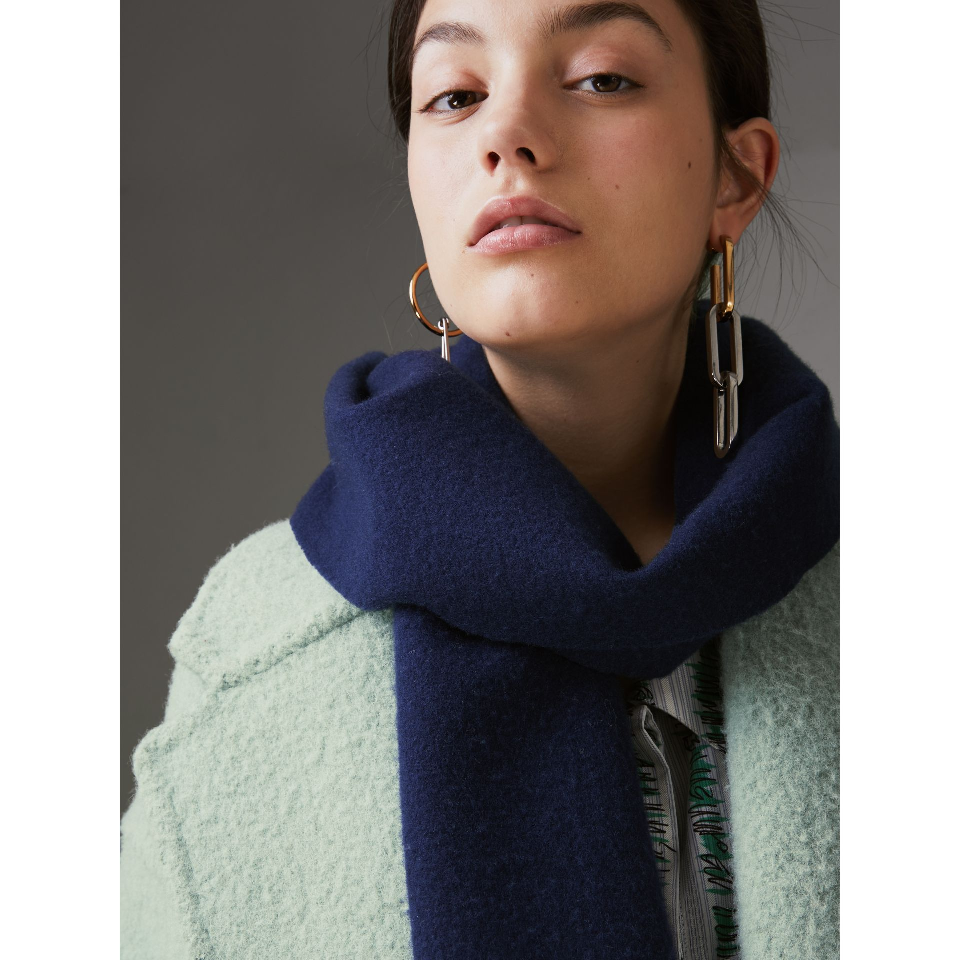 Embroidered Felted Wool Scarf in Navy | Burberry United Kingdom - gallery image 4