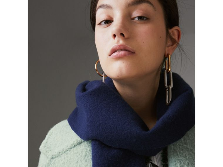 Embroidered Felted Wool Scarf in Navy | Burberry - cell image 4