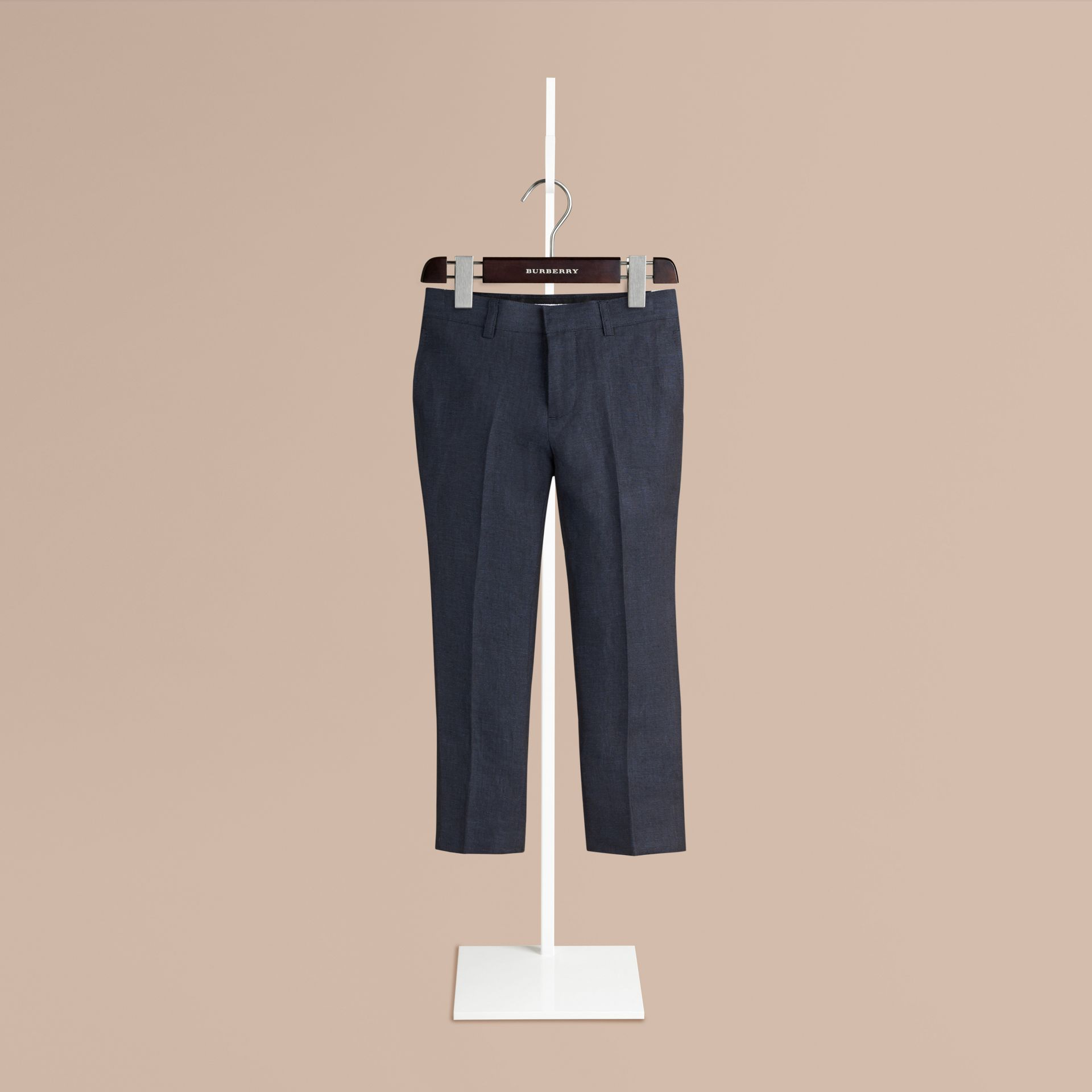 Navy Tailored Linen Tuxedo Trousers - gallery image 1