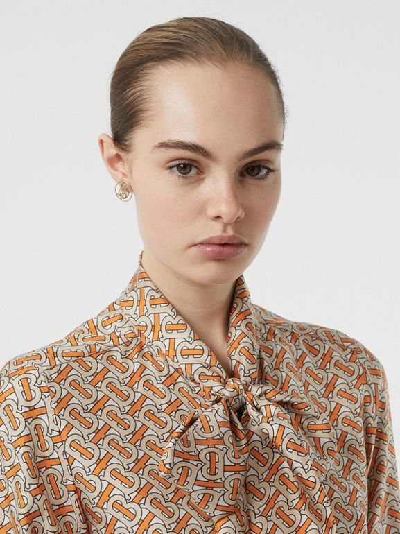 Monogram Print Silk Pussy-bow Blouse in Bright Orange - Women | Burberry - cell image 1