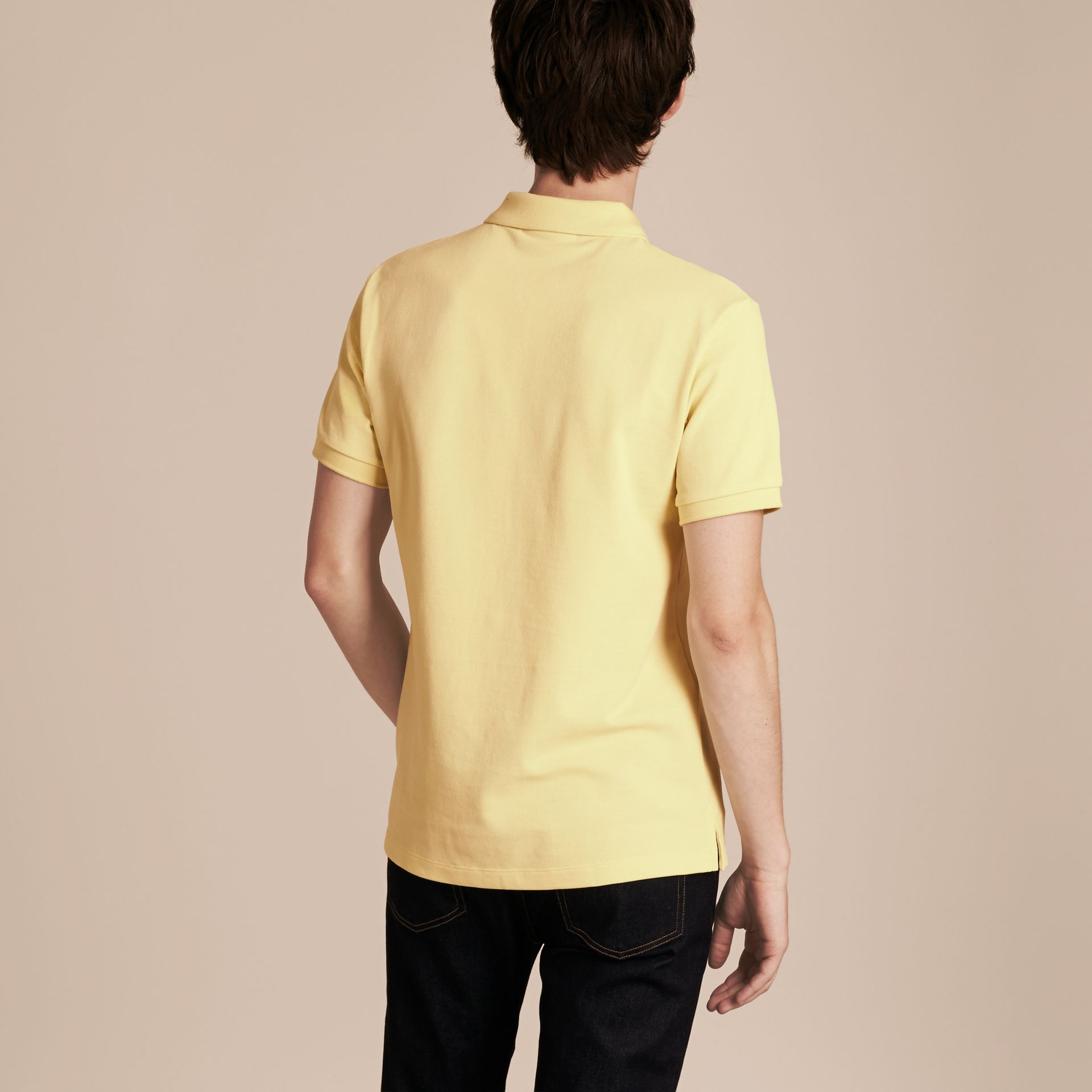 Check Placket Cotton Piqué Polo Shirt in Vanilla Yellow - Men | Burberry - gallery image 3