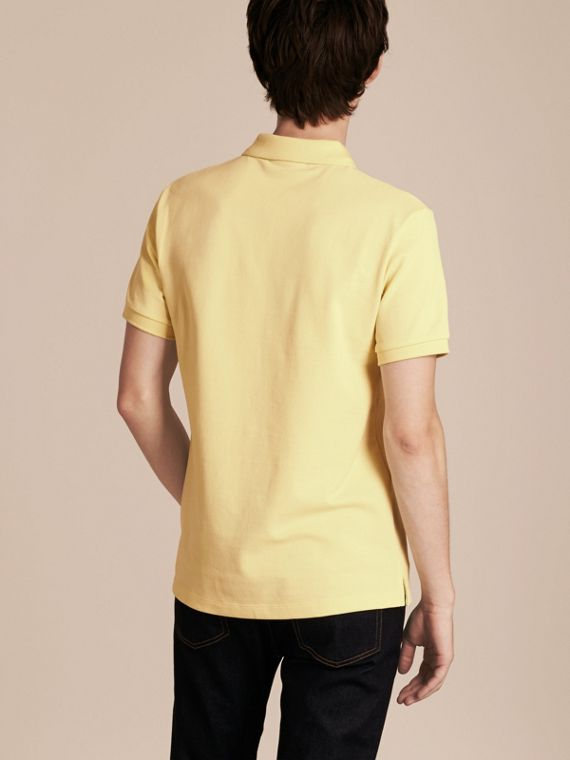 Check Placket Cotton Piqué Polo Shirt in Vanilla Yellow - Men | Burberry - cell image 2