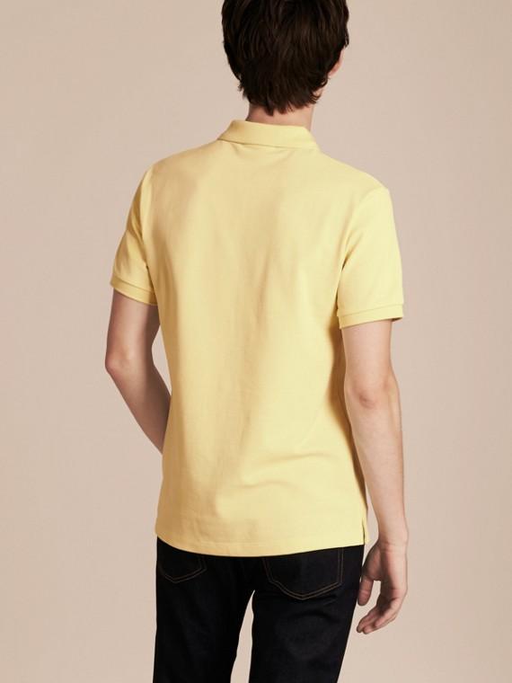 Check Placket Cotton Piqué Polo Shirt in Vanilla Yellow - Men | Burberry Singapore - cell image 2