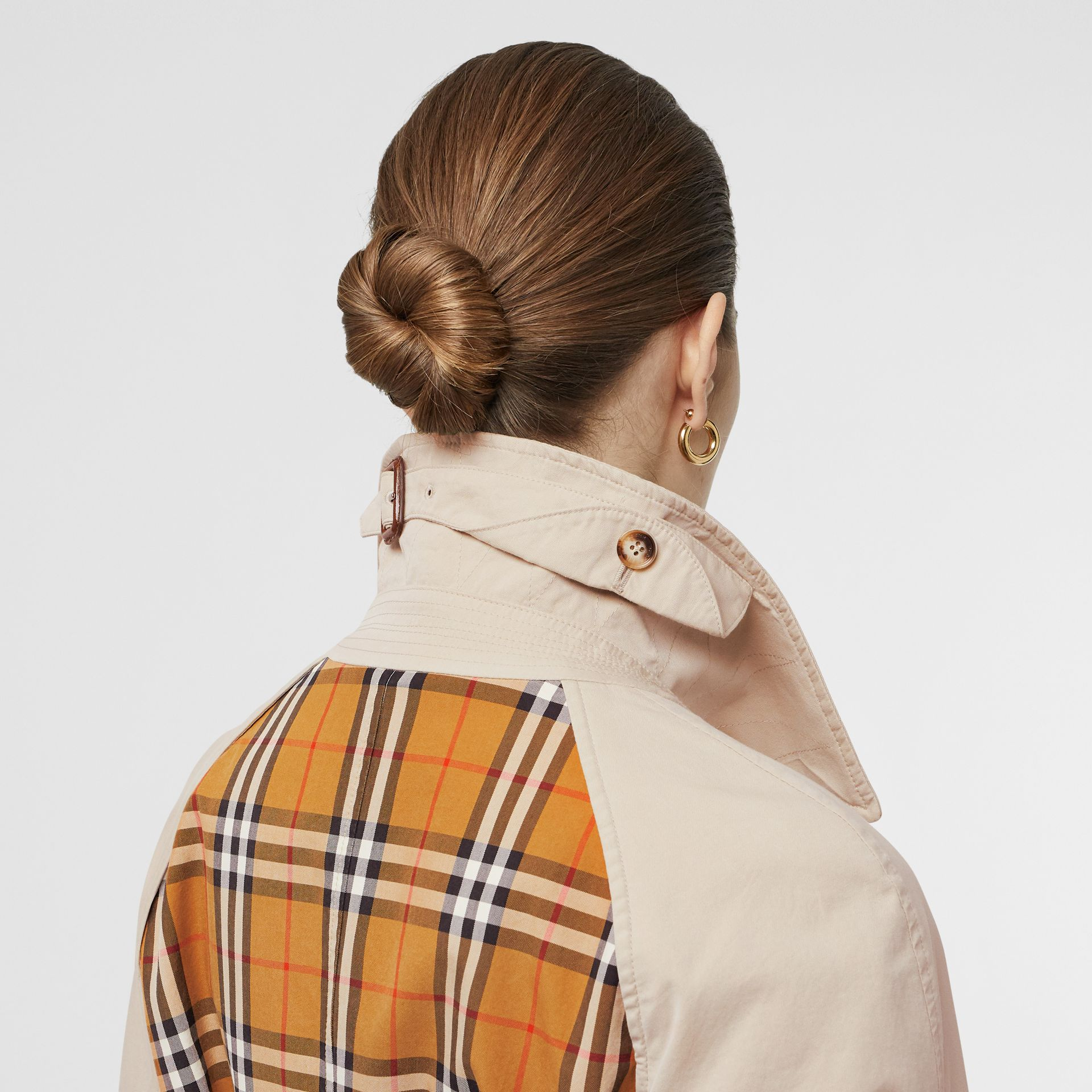 Vintage Check and Tropical Gabardine Car Coat in Stone - Women | Burberry United States - gallery image 5