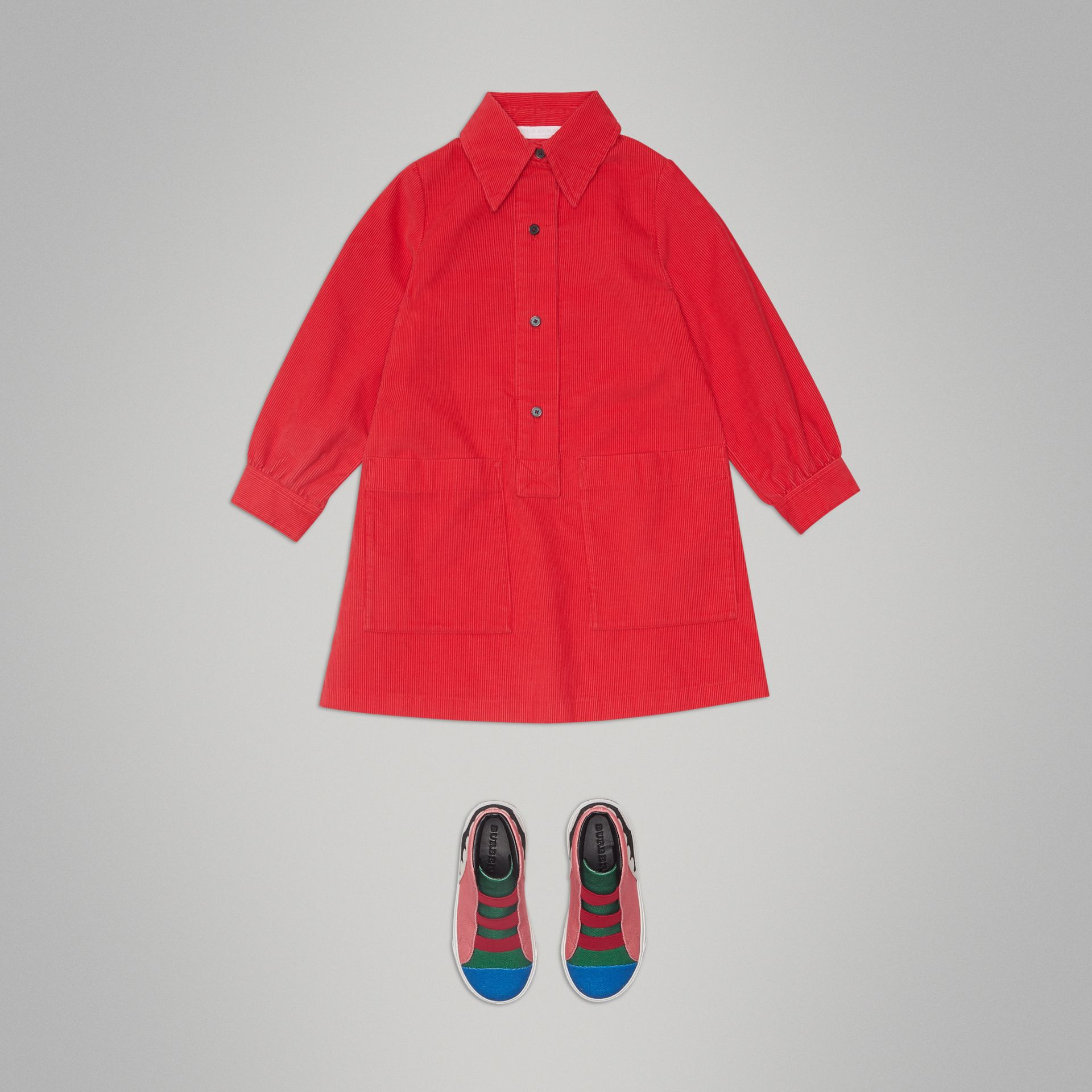 Corduroy Shirt Dress in Bright Orange Red - Girl | Burberry - gallery image 2