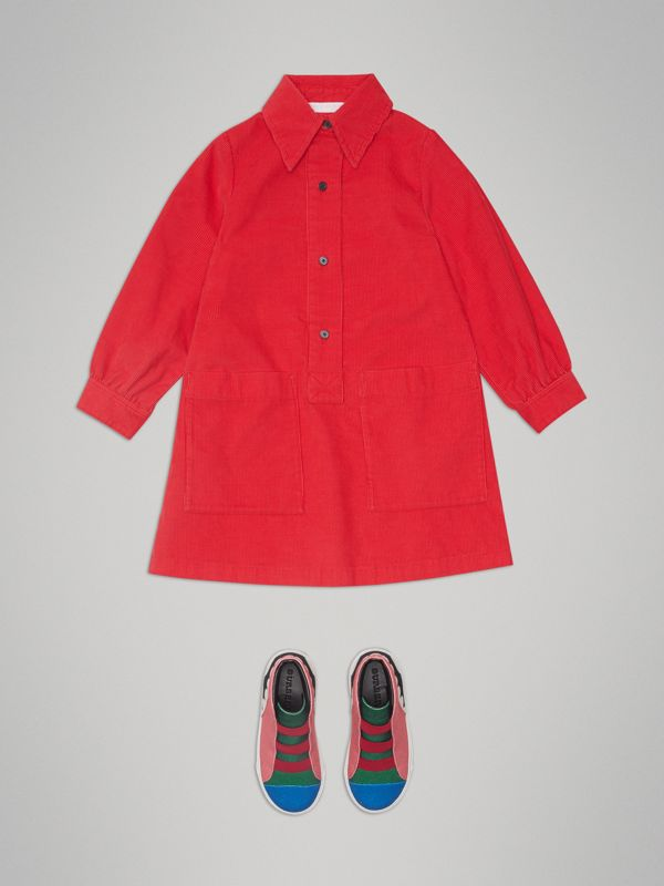 Corduroy Shirt Dress in Bright Orange Red - Girl | Burberry - cell image 2