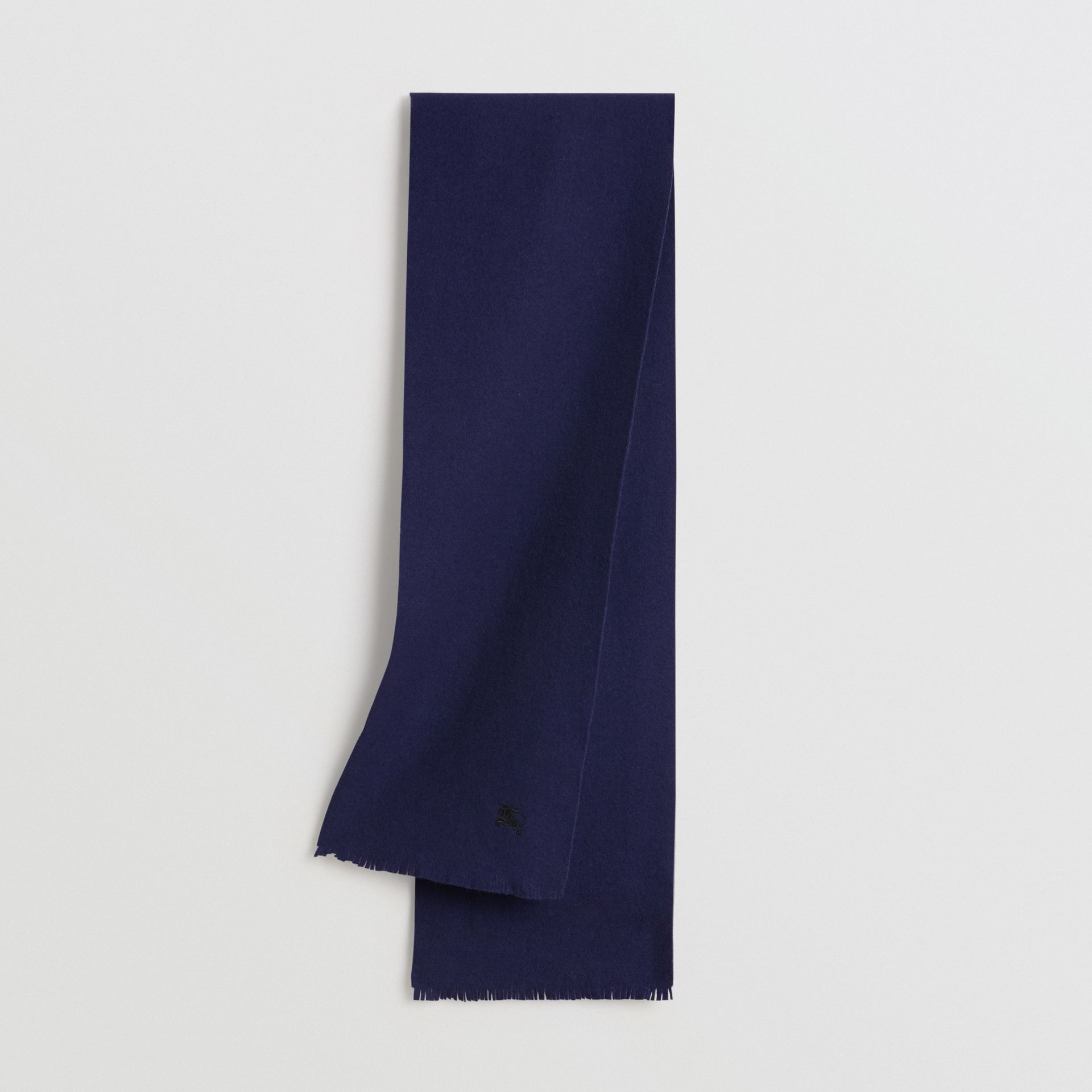 Embroidered Felted Wool Scarf in Navy | Burberry Australia - gallery image 0