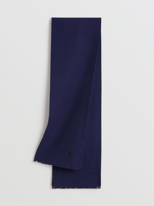 Embroidered Felted Wool Scarf in Navy