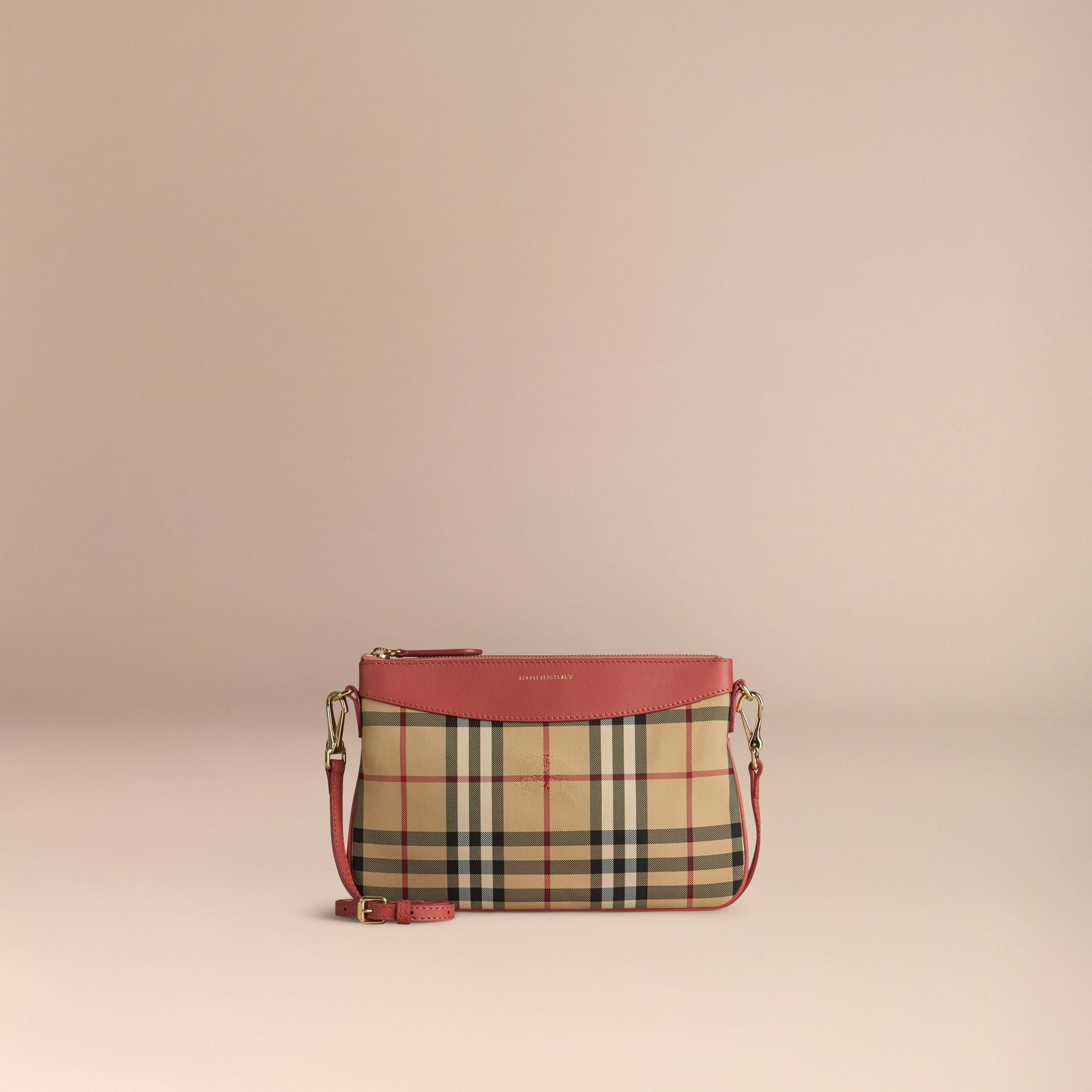 Horseferry Check and Leather Clutch Bag Antique Rose - gallery image 7
