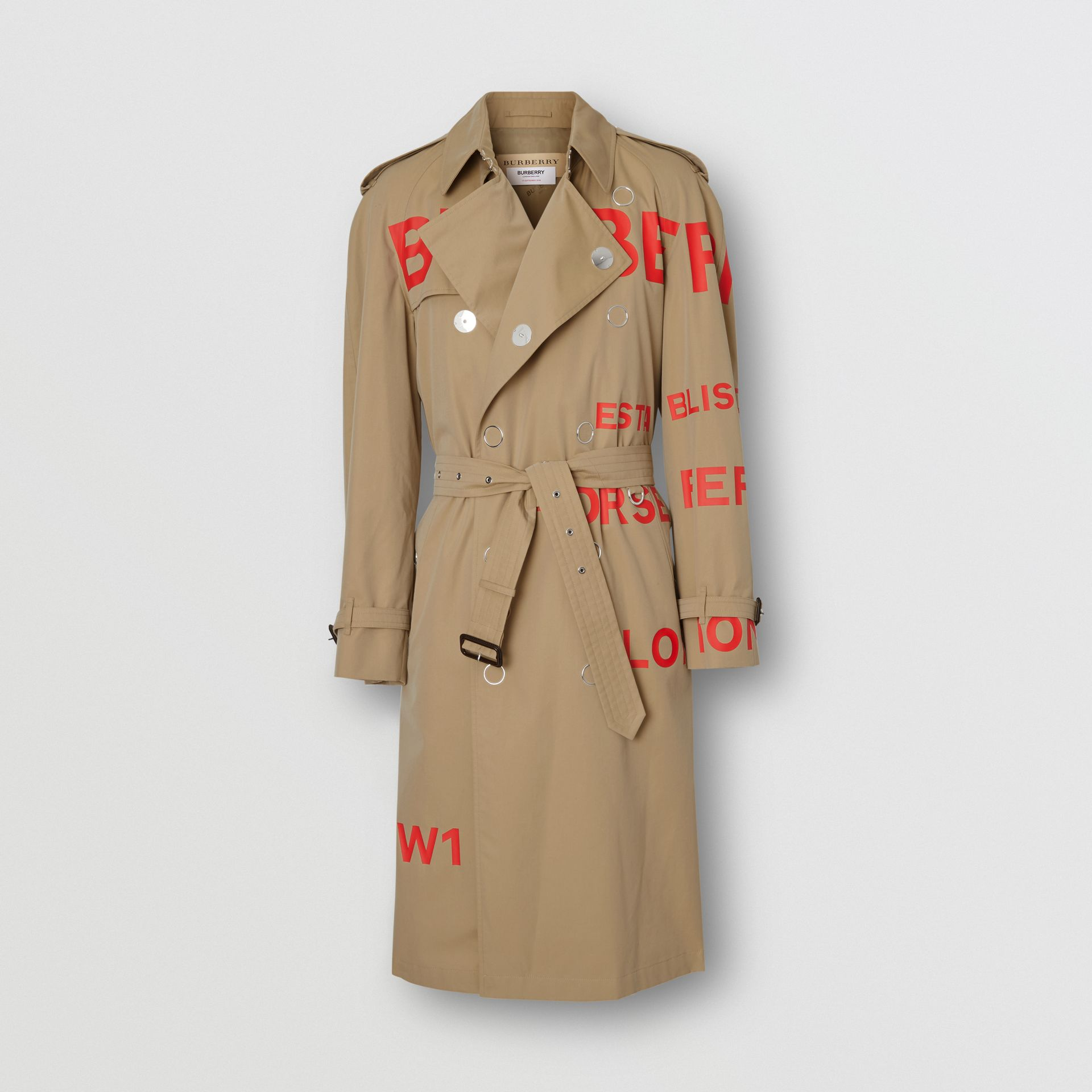 Horseferry Print Cotton Gabardine Trench Coat in Honey | Burberry United Kingdom - gallery image 3