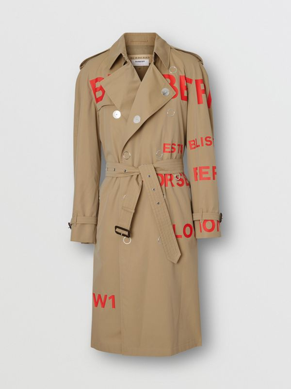 Trench coat de gabardine de algodão com estampa Horseferry (Mel) | Burberry - cell image 3