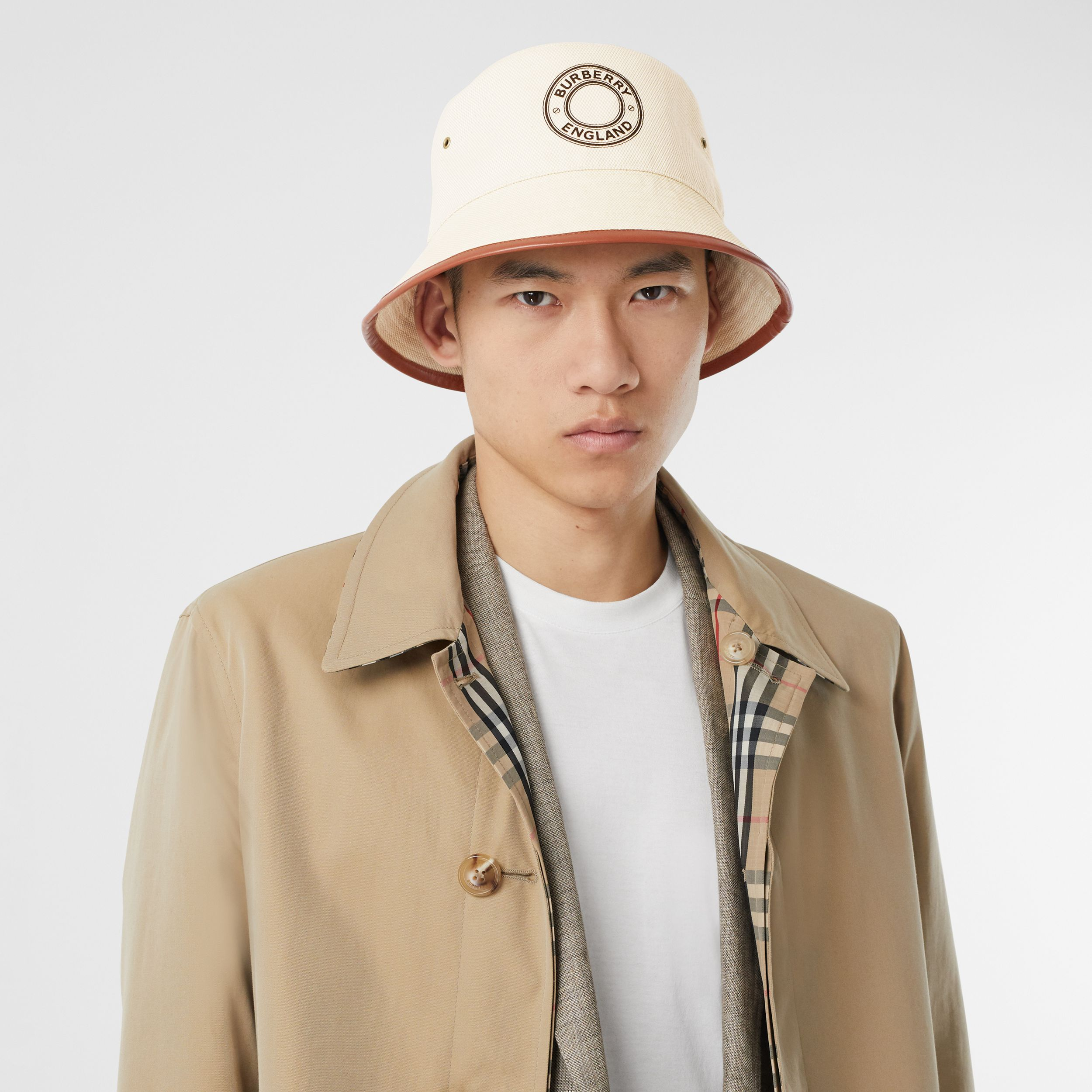 Leather Trim Logo Graphic Canvas Bucket Hat in Beige | Burberry - 4