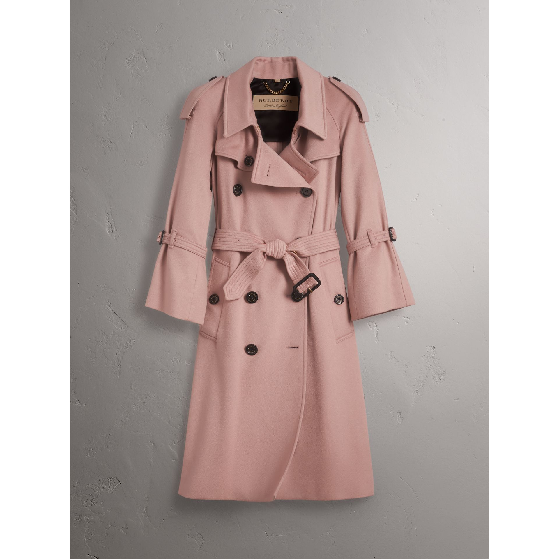 Ruffled Storm Shield Cashmere Trench Coat in Chalk Pink - Women | Burberry Singapore - gallery image 4