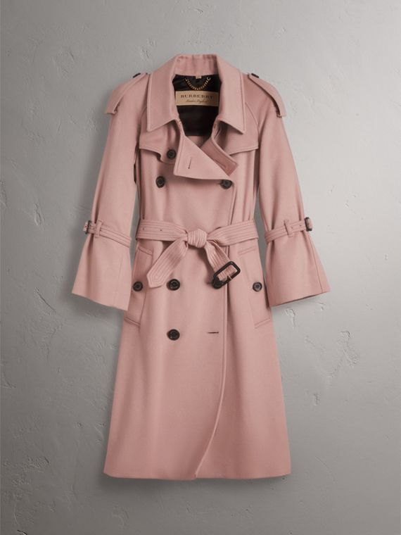 Ruffled Storm Shield Cashmere Trench Coat in Chalk Pink - Women | Burberry - cell image 3