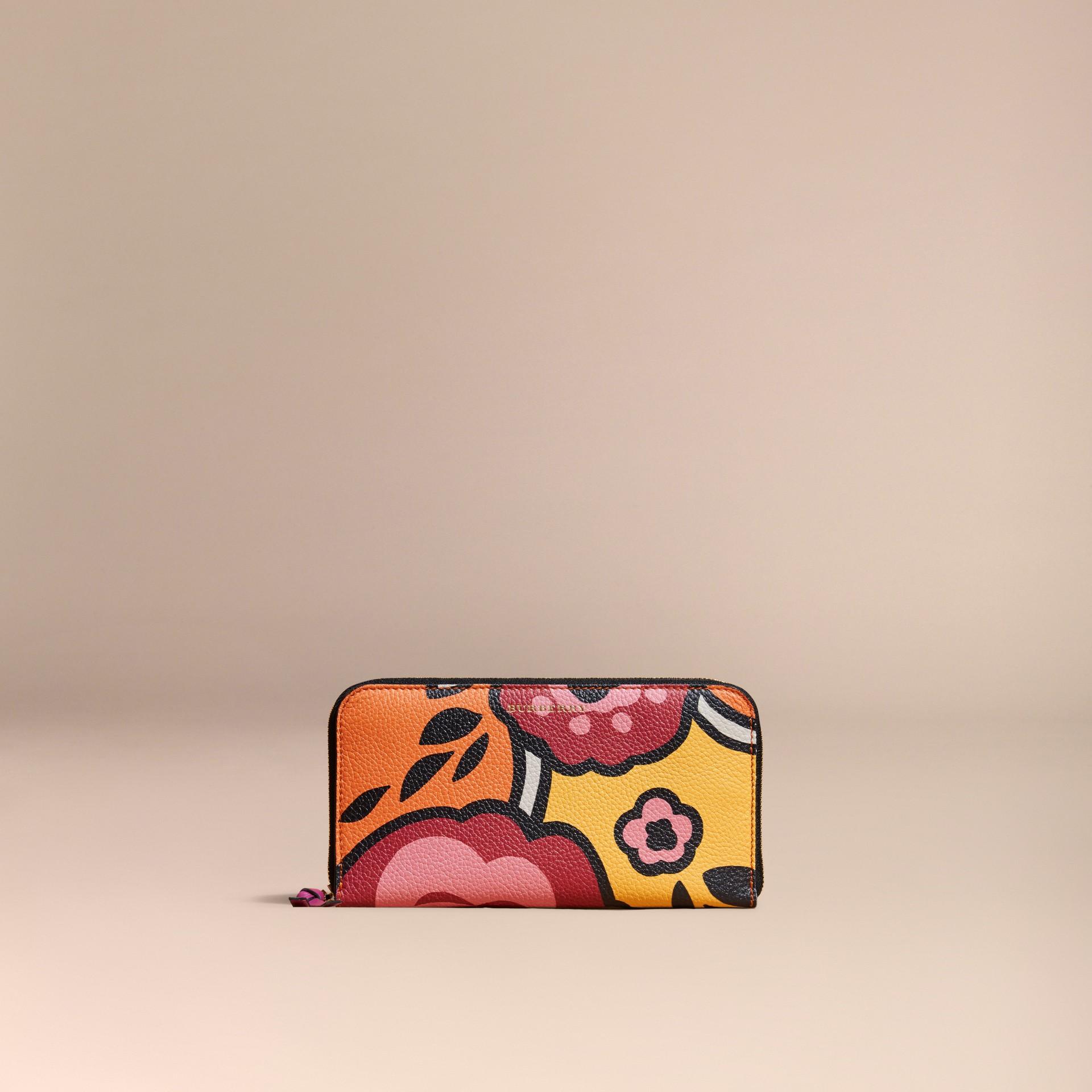 Vibrant orange Floral Print Grainy Leather Ziparound Wallet Vibrant Orange - gallery image 6