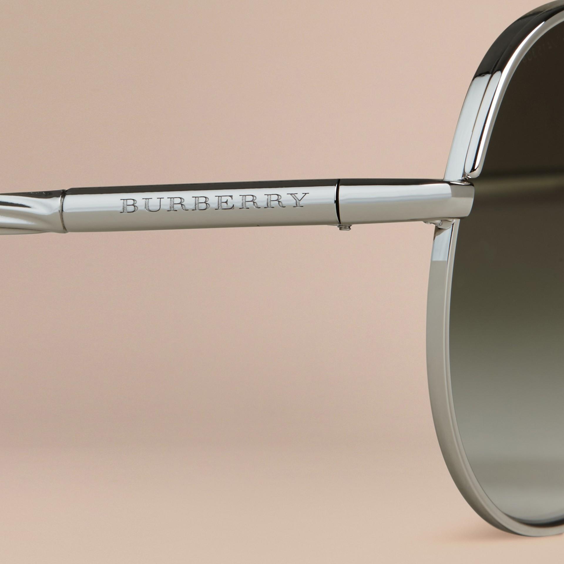 Silver Gabardine Collection Aviator Sunglasses Silver - gallery image 5
