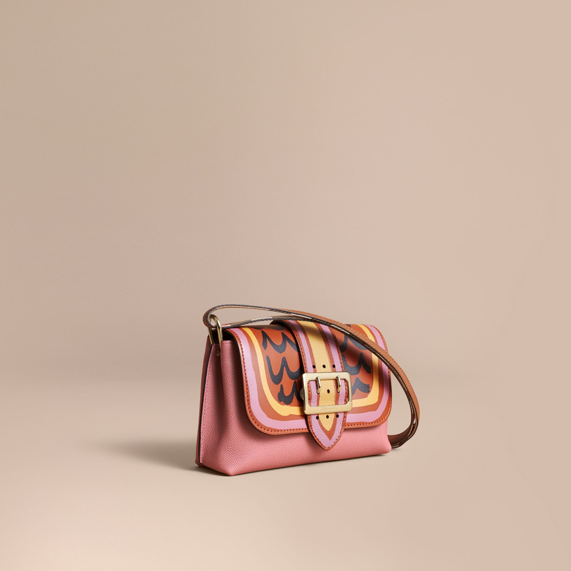 The Buckle Crossbody Bag in Trompe L'oeil Leather in Dusty Pink/bright Toffee - gallery image 1