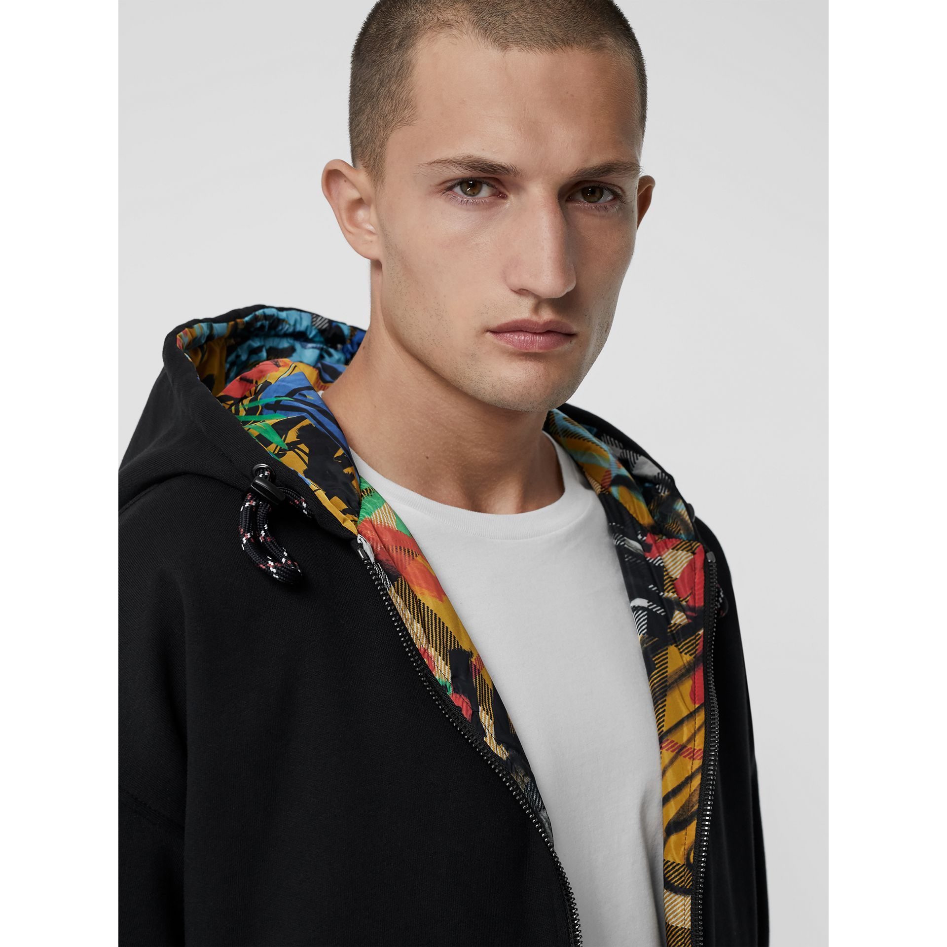 Reversible Graffiti Scribble Check Print Hooded Top in Black - Men | Burberry Australia - gallery image 1