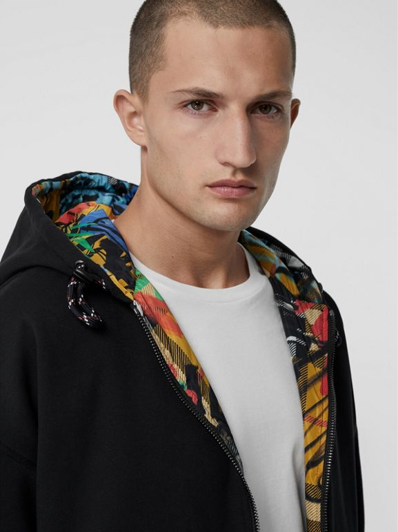 Reversible Graffiti Scribble Check Print Hooded Top in Black - Men | Burberry - cell image 1