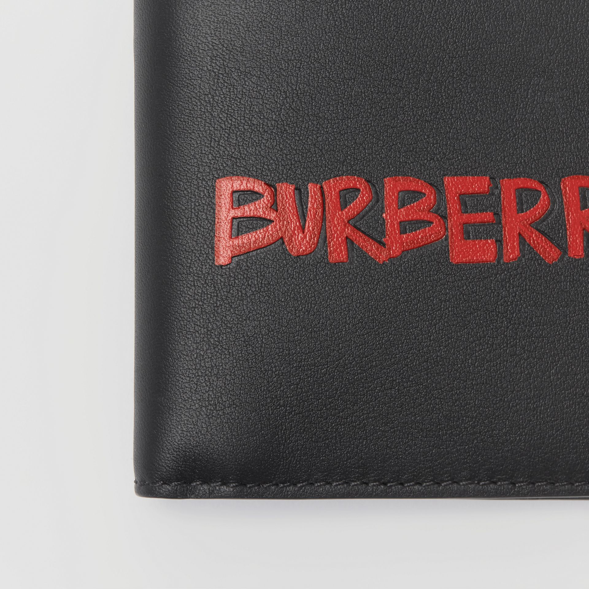 Graffiti Print Leather International Bifold Wallet in Black - Men | Burberry - gallery image 1