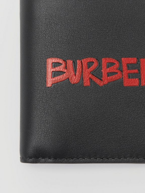 Graffiti Print Leather International Bifold Wallet in Black - Men | Burberry United Kingdom - cell image 1