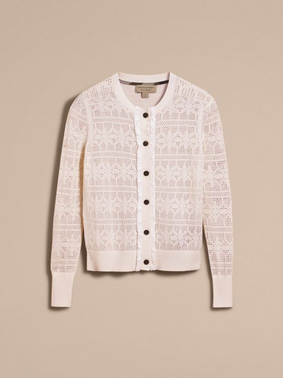 Lace Trim Knitted Wool and Cashmere Cardigan - cell image 3