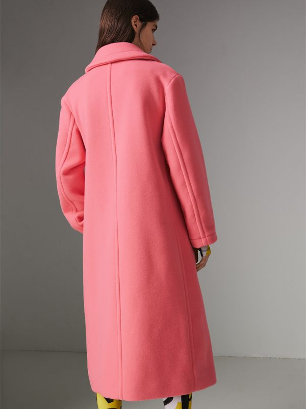Double-faced Wool Cashmere Cocoon Coat in Bright Coral Pink | Burberry - cell image 2