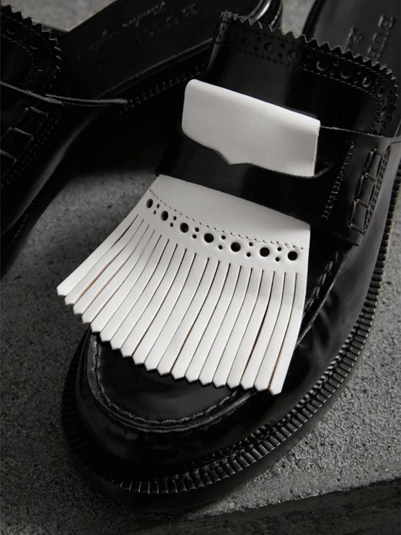 Contrast Kiltie Fringe Leather Block-heel Mules in Black - Women | Burberry - cell image 1