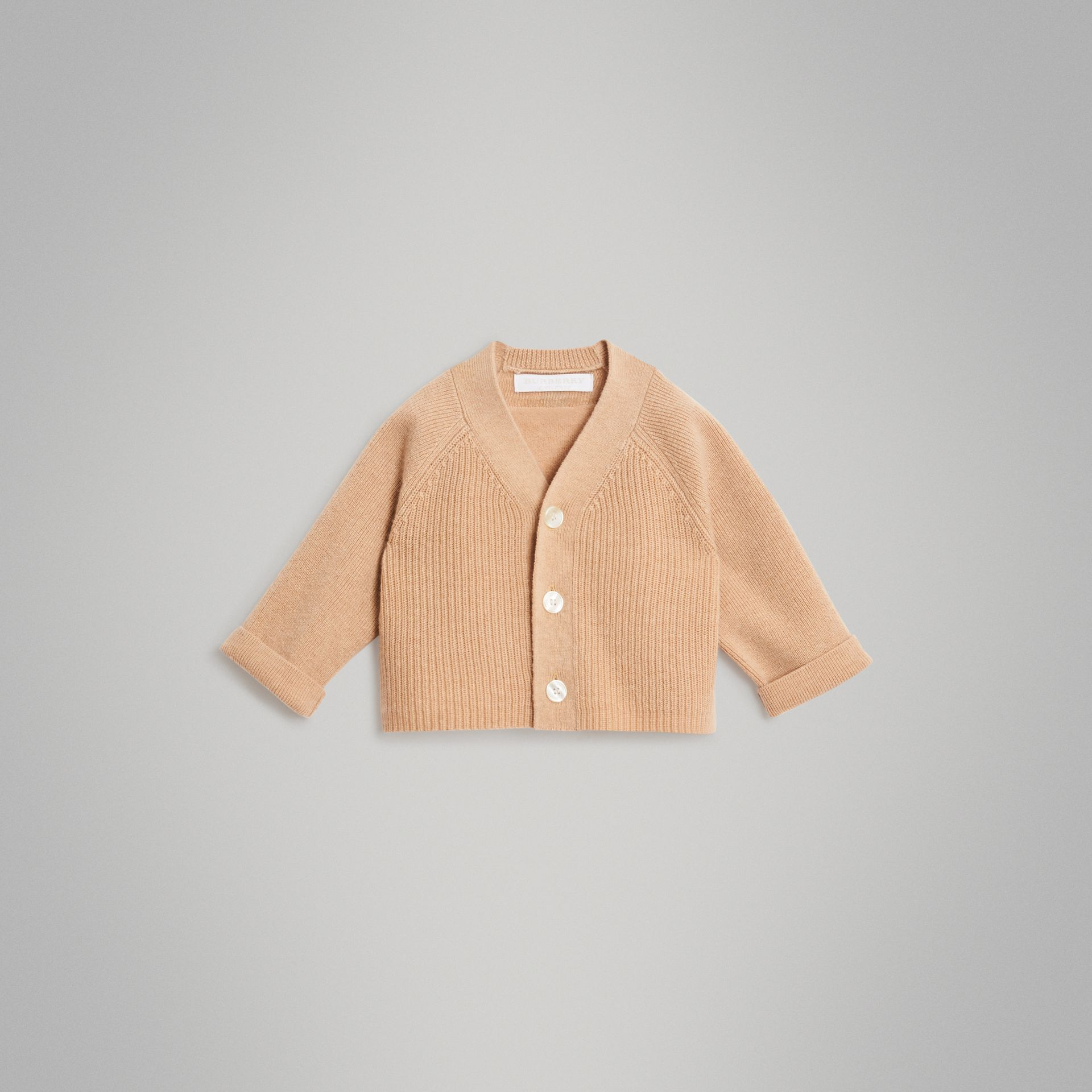Cashmere Cotton Knit Cardigan in Peach - Children | Burberry United Kingdom - gallery image 0