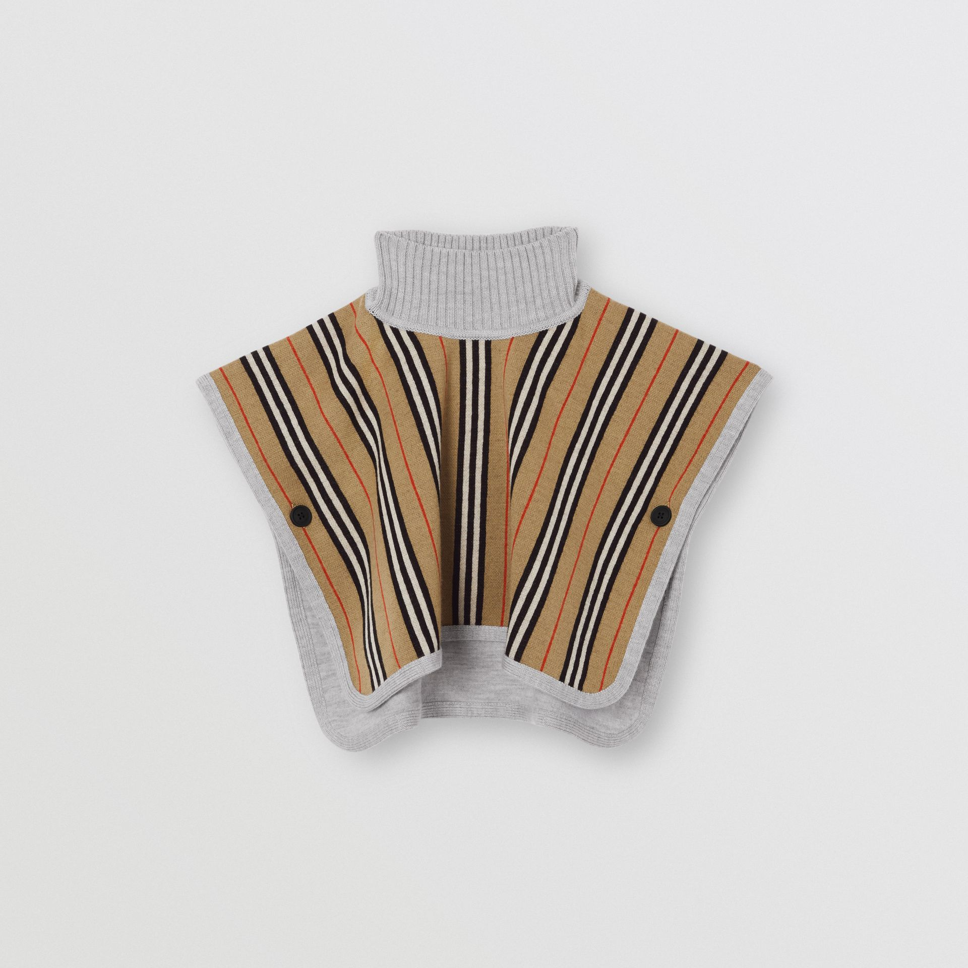 Reversible Icon Stripe Merino Wool Jacquard Poncho in Archive Beige - Children | Burberry - gallery image 0
