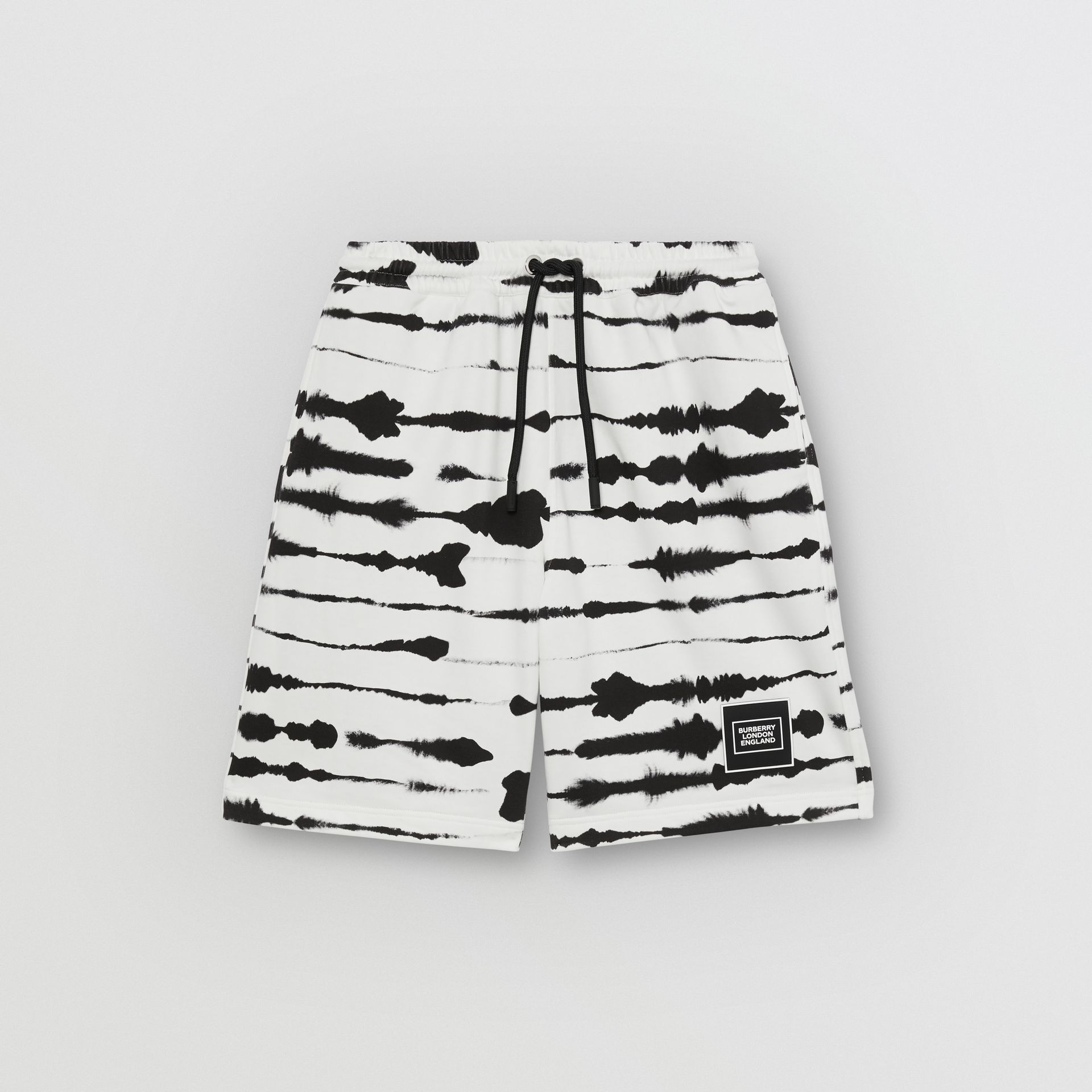 Watercolour Print Cotton Drawcord Shorts in Black/white - Men | Burberry - gallery image 3
