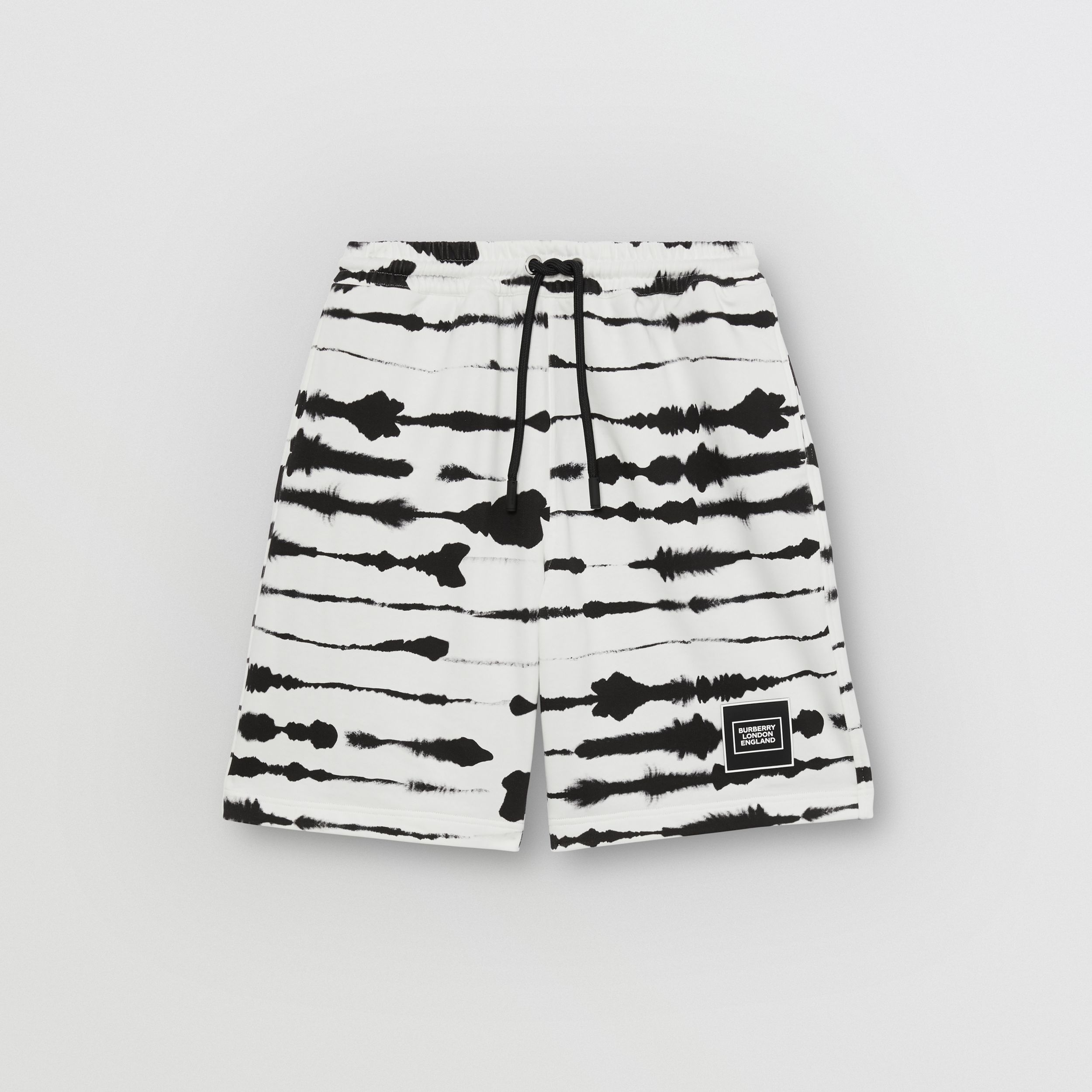 Watercolour Print Cotton Drawcord Shorts in Black/white - Men | Burberry - 4
