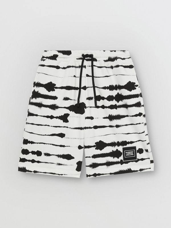 Watercolour Print Cotton Drawcord Shorts in Black/white - Men | Burberry - cell image 3