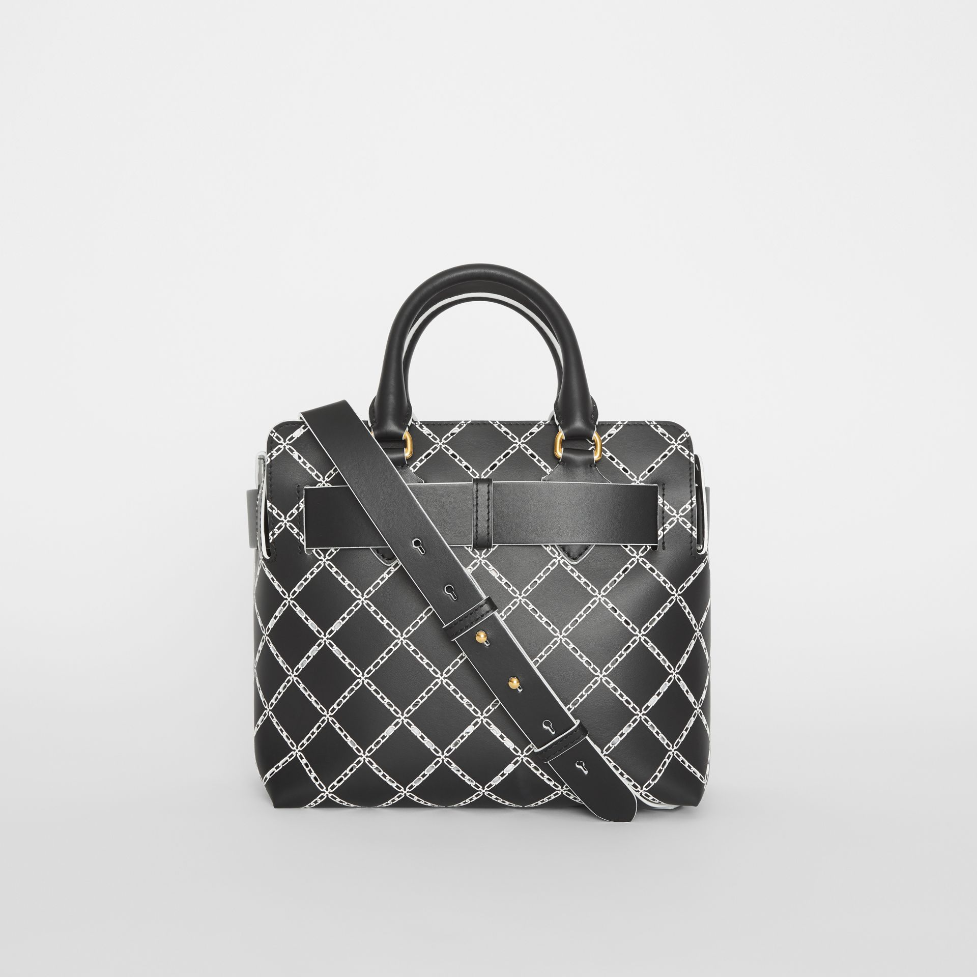 The Small Perforated Link Leather Belt Bag in Black - Women | Burberry United Kingdom - gallery image 7