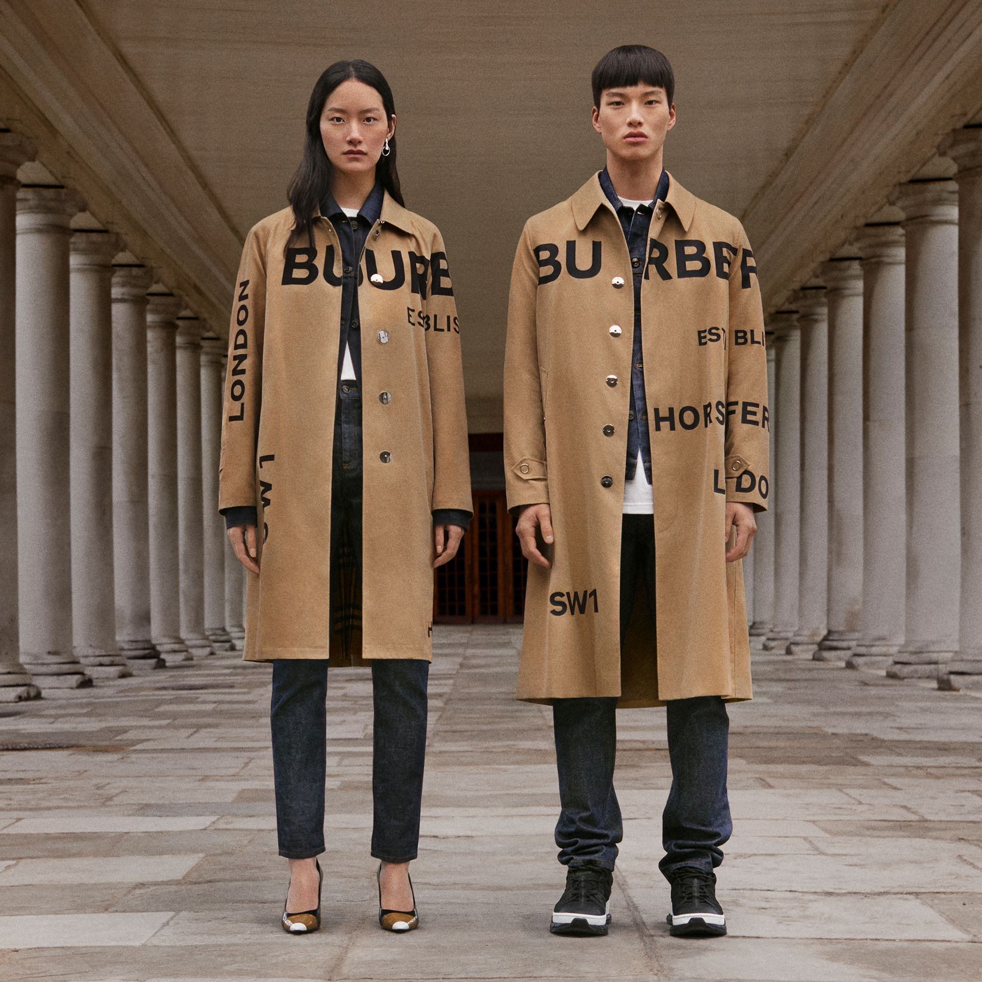 Horseferry Print Cotton Gabardine Car Coat in Honey - Men | Burberry Hong Kong S.A.R. - gallery image 1